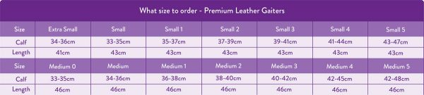 Just Chaps Size Guide