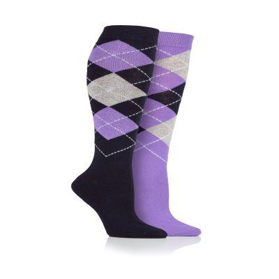 Platinum Argyle Long Socks