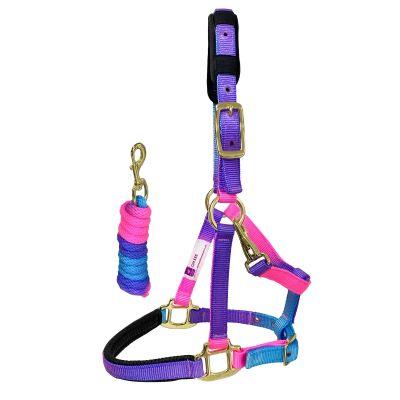 KM Elite Padded Headcollar and Lead Rope Set - Unicorn